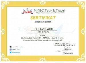 Sertifikat dari PT.MMBC Tour and Travel